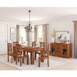 Philadelphia Rustic Solid Wood 8 Piece Dining Room Set