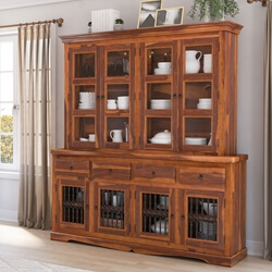 Philadelphia Classic Transitional Rustic Solid Wood Dining Room Hutch