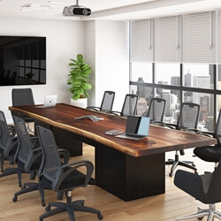 Large Rectangle Suar Wood Conference Table with Cord Management