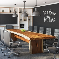 Large Rectangle Suar Wood Rustic Live Edge Conference Table