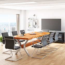 Medellin Solid Acacia Wood Rectangle Live Edge Conference Table