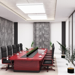 Modern Rectangular Solid Mahogany Wood Large Conference Table