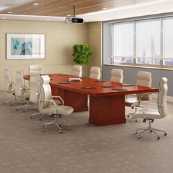 Solid Mahogany Wood 3-Piece Rectangular Conference Table with Storage