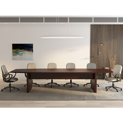 Burnaby Solid Mahogany Wood Boat-Shaped Conference Table
