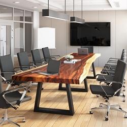 Suar Wood Live Edge Single Slab Large Conference Table