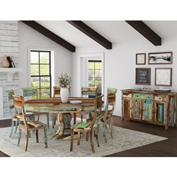 Wilmington Rustic Reclaimed Wood Round 10 Piece Dining Room Set