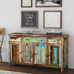 Wilmington Rustic Reclaimed Wood 3 Drawer Large Sideboard Buffet