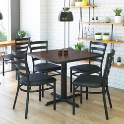 Solid Wood & Iron Square Restaurant Table and Chair Set
