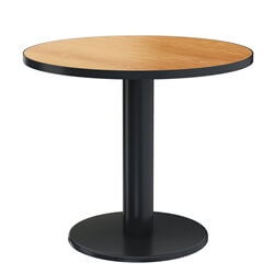 Iron & Teak Wood Single Pedestal Round Restaurant Table