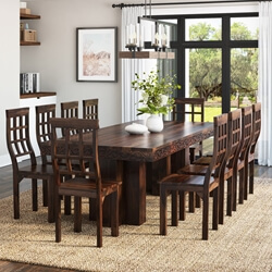 Dallas Ranch Rustic Solid Wood Double Pedestal Dining Table Set