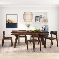 Petaluma Modern Rustic Solid Wood Dining Table and 6 Chair Set