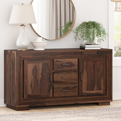 Petaluma Modern Rustic Solid Wood 3 Drawer Large Sideboard Buffet