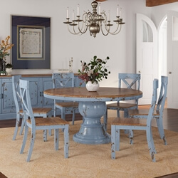 Nauvoo Farmhouse Solid Wood Pedestal Round Dining Table & Chair Set