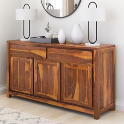 San Mateo Rustic Solid Wood 2 Drawer Large Sideboard Buffet Cabinet