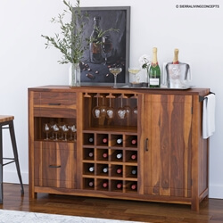 Mancos Rustic Solid Wood Modern Bar Cabinet with Slide-out Drawer