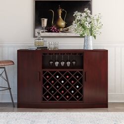 Leadville Mahogany Wood Bar Cabinet With Wine Bottle Rack