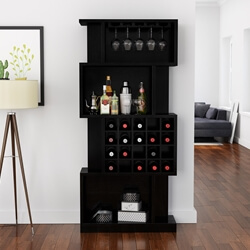 Sitka Rustic Solid Wood Bookcase Bar Cabinet With Wine Bottle Rack