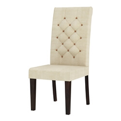 Clanton Rustic Solid Wood Natural Upholstered Tufted Dining Chair