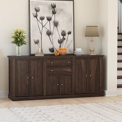 Clanton Rustic Solid Wood 2 Drawer Extra Long Sideboard Cabinet