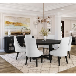 Evanston Rustic Solid Wood 8 Piece Round Dining Room Set
