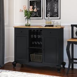 Edinburg Rustic Solid Wood Two-Tone Buffet Bar Cabinet