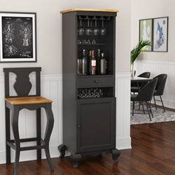 Edinburg Two-Tone Rustic Solid Wood Tall Bar Cabinet