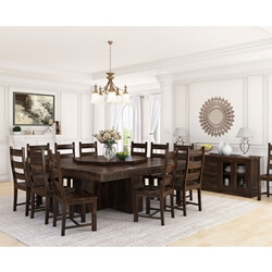 Modern Pioneer Rustic Solid Wood 14-Piece Square Dining Room Set