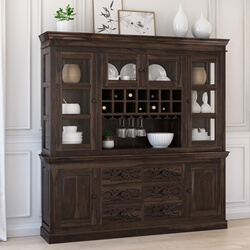 Modern Pioneer Rustic Solid Wood 6 Drawer Dining Room Bar Hutch