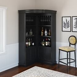 Ashon Rustic Solid Wood Tall Corner Bar Cabinet