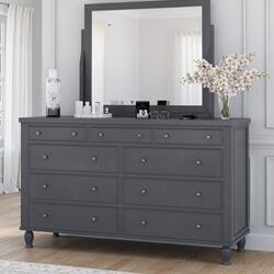 Marysville Mahogany Wood 9 Drawer Long Bedroom Dresser