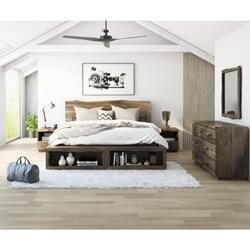 Ambler Solid Mahogany Wood Live Edge Style 4 Piece Bedroom Set