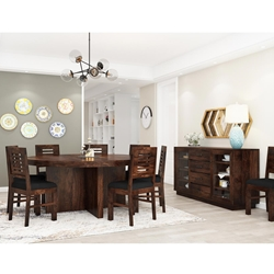 Algona Rustic Solid Wood Pedestal 10 Piece Round Dining Set