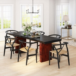 Eldora Two-Tone Solid Single Slab Live Edge Dining Table & Chair Set