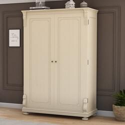 Otranto Mahogany Wood Large White Wardrobe Armoire