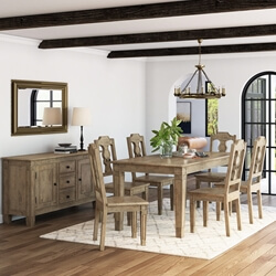 Haysi Rustic Solid Wood 8 Piece Dining Room Set