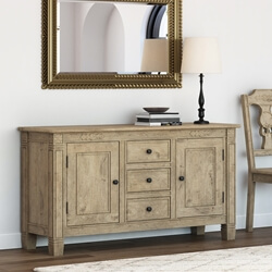 Haysi Rustic Solid Wood 3 Drawer Farmhouse Large Sideboard Cabinet