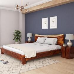 Lamoni Solid Wood Platform Bed w Single Slab Live Edge Headboard