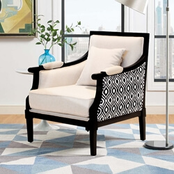 Black and White Mahogany Wood Upholstered Accent Armchair