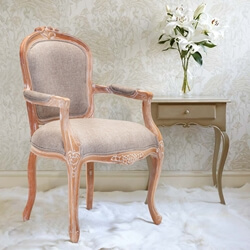 Kimballton Shabby Chic Mahogany Wood Upholstered Arm Dining Chair