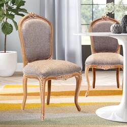 Kimballton Shabby Chic Mahogany Wood Upholstered Accent Dining Chair