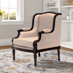 Arion Hand-Carved Mahogany Wood Frame Classic Accent Armchair