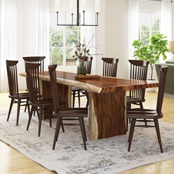 Ireton Solid Wood Live Edge Dining Table and 8 Windsor Chair Set