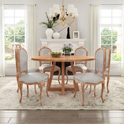Shabby Chic Teak Wood Round Dining Table with 6 Mahogany Wood Chair Set