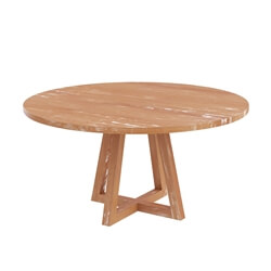 Kimballton Shabby Chic Teak Wood Farmhouse Round Dining Table