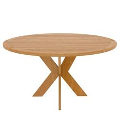 Scottsboro Teak Wood Cross Leg Modern Round Dining Table