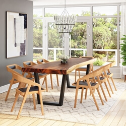 La Habra Solid Wood Single Slab Live Edge Dining Table and 8 Chair Set