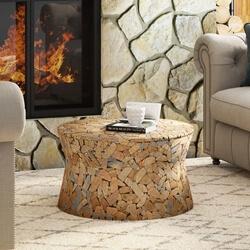 De Land Solid Reclaimed Teak Wood Slice Round Coffee Table
