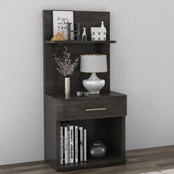 Estherville Mahogany Wood Bookcase Nightstand