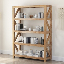 Fernie Rustic Solid Wood Bookcase With 4 Shelves