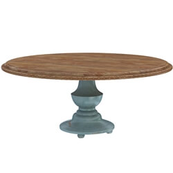 Conway Farmhouse Two Tone Solid Wood Pedestal Round Dining Table